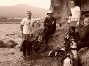 Diving sepia