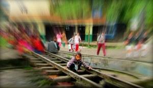 girl on tracks