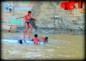 real boys in river
